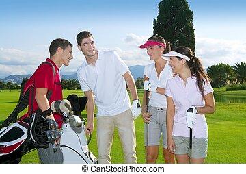terrain de golf, gens, groupe, jeune, joueurs, équipe
