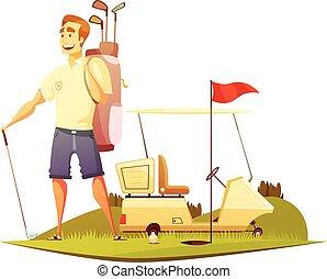 terrain de golf, joueur, retro, dessin animé, icône