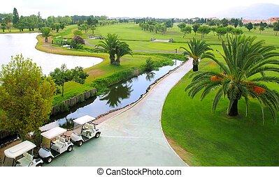 terrain de golf, lacs, palmiers, vue aérienne