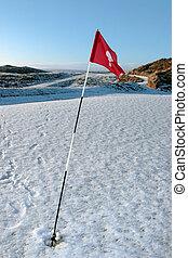 terrain de golf, neige, cours, drapeau, couvert