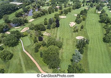 terrain de golf, vue aérienne