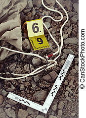 terrain, evidences, soupçonneux, police, documentation