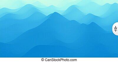 terrain., illustration., montagneux, vecteur, paysage.,...