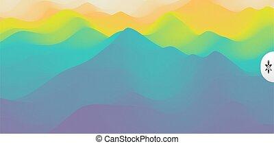 terrain., montagne, illustration., vecteur, arrière-plan.,...