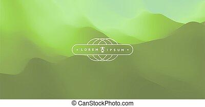 terrain., paysage, vecteur, illustration., montagnes.,...