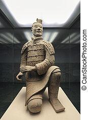 terrakotta, bågskytt, knäande, krigare