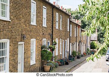 terraplenar, casas, en, un, típico, inglés, residencial, calle