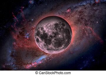 terras, moon., espaço exterior, experiência.