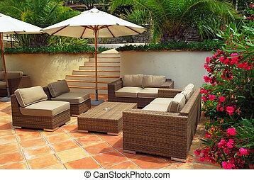 terras, van, een, villa