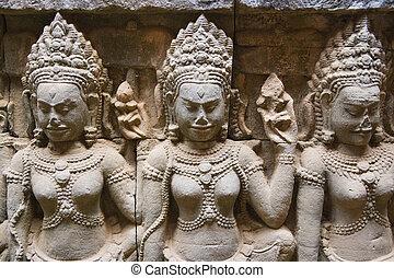 terrasse, de, les, lépreux, roi, cambodge