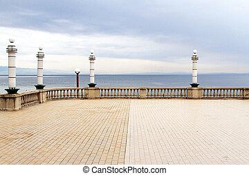 terrasse, mer