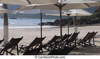 terrasse, plage tropicale, coucher soleil