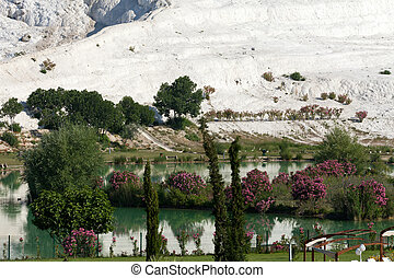 terrasses, turquie, piscines, travertin, pamukkale