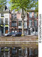 terrasvormig, flatgebouwen, in, den haag