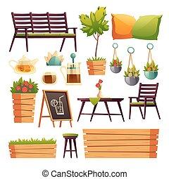 terraza, restaurante, o, café, flores