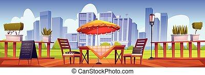 terraza, verano, al aire libre, café, café, ciudad