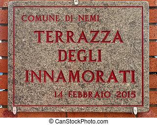 Terrazza degli innamorati (translation: Lovers Terrace) Plate in Nemi Italy