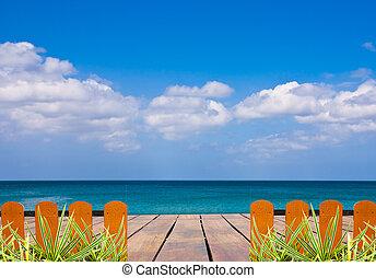 terrazzo, mare, meraviglioso