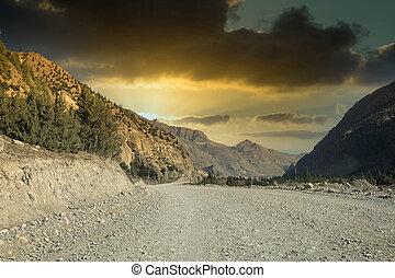 terre, éloigné, désert, route