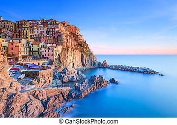 terre , ιταλία , cinque , χωριό , manarola , θάλασσα , βράχος , sunset.