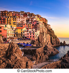 Terre, イタリア,  Cinque, 村,  manarola, 海, 岩, 日没