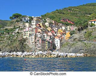 terre, -, 有色人種, manarola, 海, 村, cinque, italia.