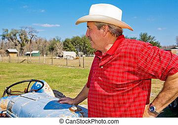 terre, aperçus, propriétaire ranch, sien