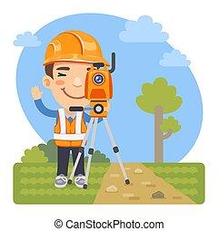 terre, arpenteur, dessin animé