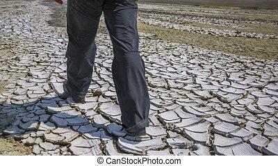 terre criquée, pieds, désert, équipe