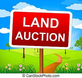 terre, enchère, offre, vendre enchères, enjôleur, indique
