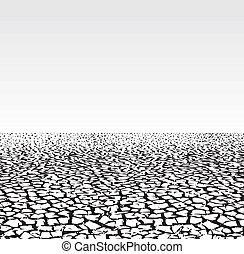 terre fissurée, -, saison sèche
