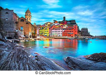 terre, harbor., italien, vernazza, steinen, ligury, dorf, meer, kirche, cinque