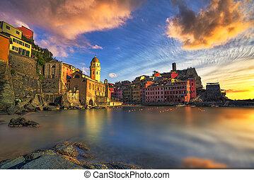 terre, harbor., italien, vernazza, steinen, ligury, meer, dorfkirche, cinque, sonnenuntergang