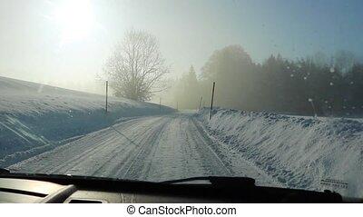 terre, hiver, conduite, route, alps., neigeux, par, autriche
