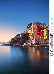 terre, itália, cidade, cinque, riomaggiore, mar, capa, sunset., paisagem, liguria
