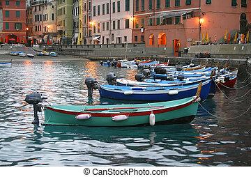 terre, italie, bateau, cinque
