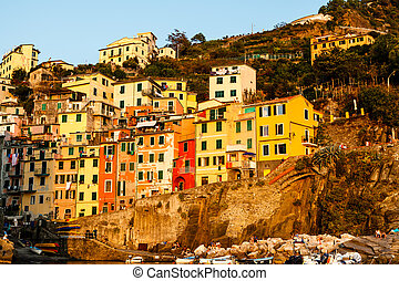 terre, italie, cinque, riomaggiore, coucher soleil, village