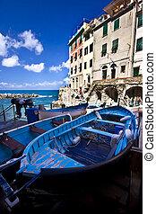 terre, italie, cinque, riomaggiore, pêcheur, village