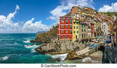 terre, italie, liguria, cinque, riomaggiore, pêcheur,...