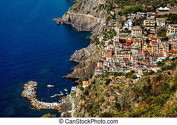 terre, italie, port, cinque, riomaggiore, village
