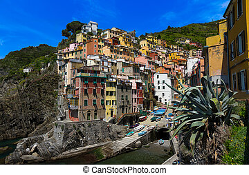 terre, italie, port, riomaggiore, cinque, vue