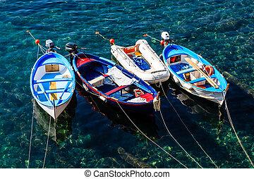 terre, italie, trois, cinque, ancré, riomaggiore, bateaux