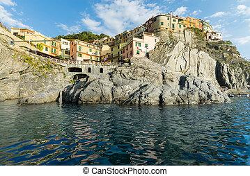 terre, italien, cinque, dorf, manarola, meer, steinen, sunset.