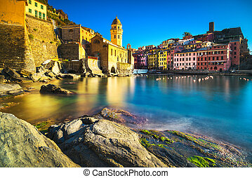 terre, italien, vernazza, porto , steinen, ligury, dorf, meer, kirche, cinque, sunset.