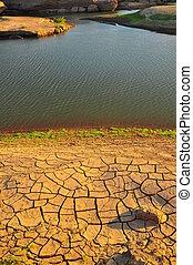 terre, lac, aride