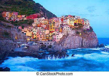 terre, manarola, イタリア, 漁師, cinque, 村
