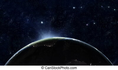 terre planète, 02, -, levers de soleil