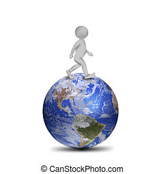 Planete Courant Homme 3d Render Planet Isole Courant Fond Blanc Homme 3d