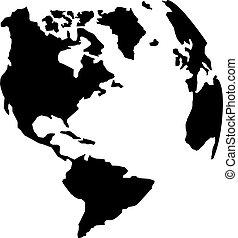 terre planète, américain, silhouette, continents