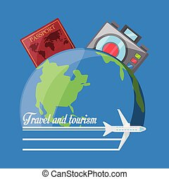 terre planète, appareil photo, passeport